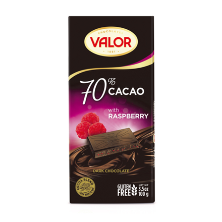 Picture of VALOR RASPBERRY  DARK CHOCOLATE 70% CACAO 100G