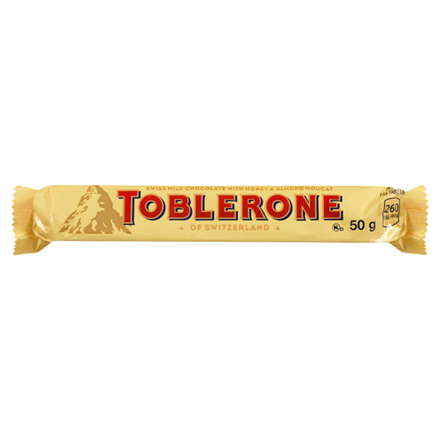 Picture of TOBLERONE SWISS MILK CHOCOLATE WITH HONEY&ALMOND NOUCAT 50G