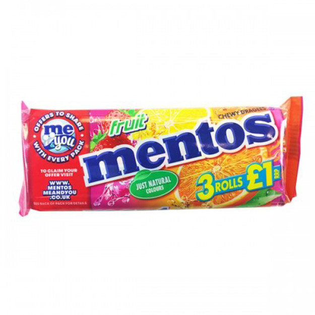 Picture of MENTOS CHEWY FRUIT CANDY 3ROLL
